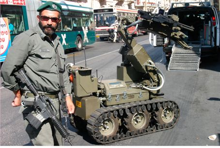 Israel Border Guard sapper and robot