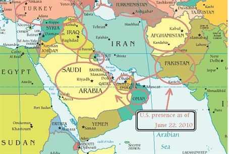 Iran Is Surrounded By US Troops In Countries Israel National News - Map of us bases around iran