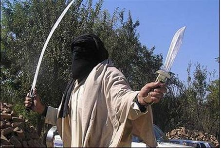 Jihad terrorist with sword