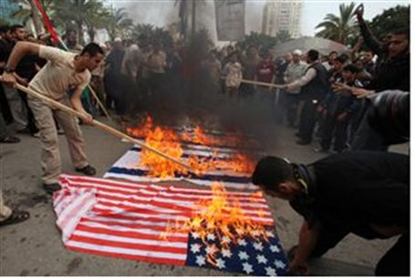 Burning flags in Gaza