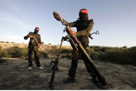 Gaza terrorists firing mortar attack