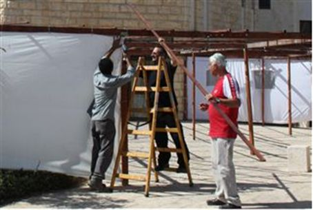 Building a Sukkah (illustrative)