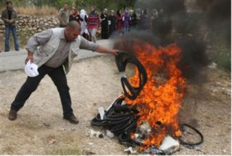 Burning Israeli goods
