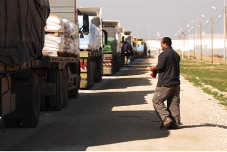 Trucks crossing into Gaza.