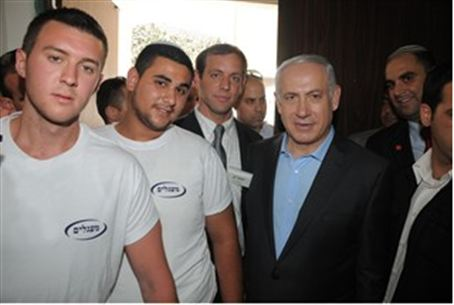 Netanyahu with Lod students
