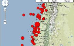 Map of Chile earthquake, aftershocks