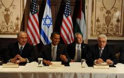 Netanyahu, Obama and Abbas (right)