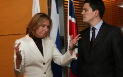 Miliband and Livni during a visit to Israel