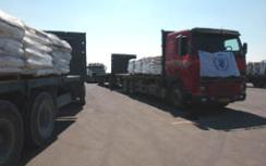Trucks delivering humanitarian aid to Gaza
