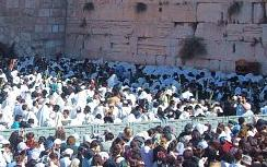 Men and women at Western Wall (Kotel)