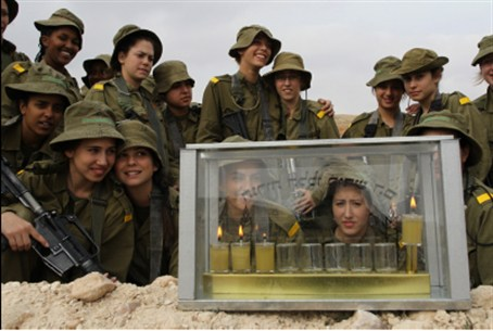 Female soldiers mark Hanukkah