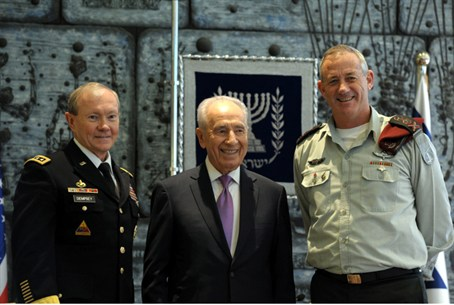 Dempsey, with President Peres and Gantz