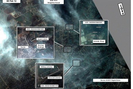 Satellite image of the Syrian gov't attack on