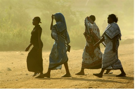 African women walking in Juba