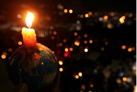 Candles lit for 'Earth Hour'