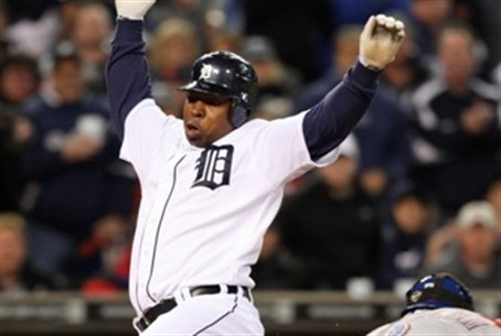 Delmon Young hits home plate -- before 'foul'