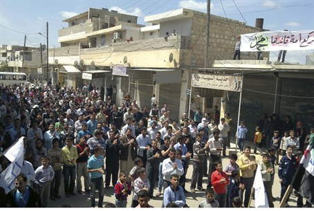Demonstrators protest near Aleppo