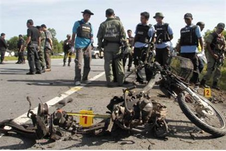 Aftermath of motorcycle bombing (illustrative