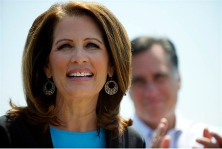 Bachmann speaks next to Romney at GOP rally