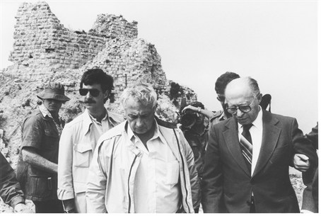 Menachem Begin and Ariel Sharon visit the Bea