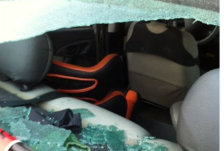 Car damaged by Gaza terror gunfire
