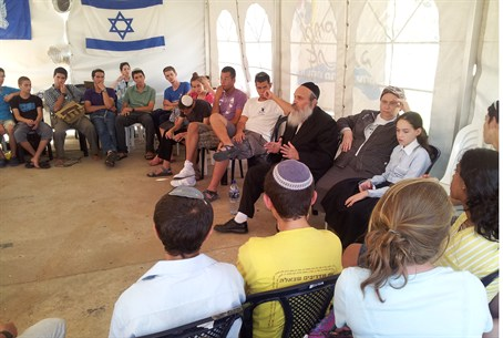 Youths at Bnei Akiva tent