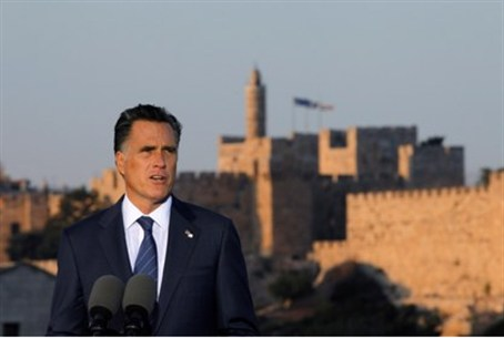 Romney in front of the Old City of Jerusalem