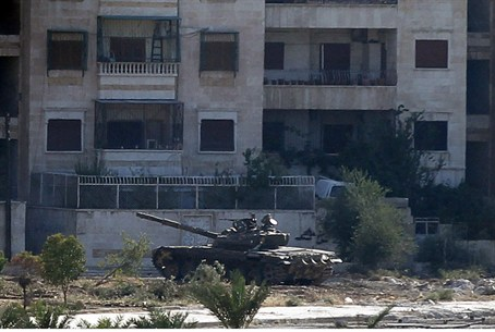 A Syrian Army tank is seen in Aleppo