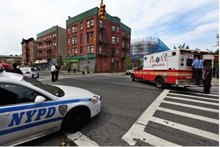 New York police car and ambulance at scene o