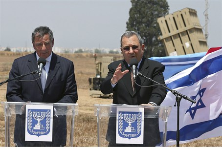 Leon Panetta, Ehud Barak at Iron Dome site