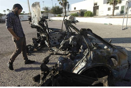 Remains of car that exploded in Tripoli