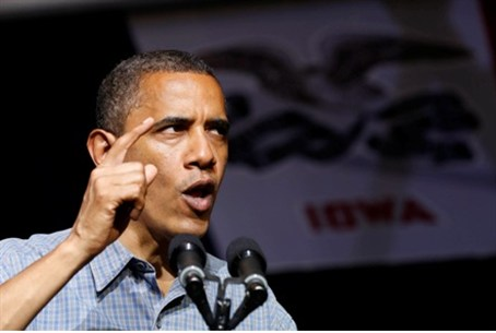 Obama speaks at a campaign event in the swng