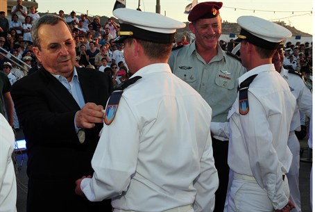 Barak and Gantz at naval graduation ceremony