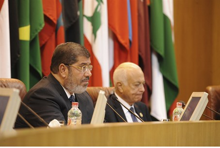 Morsi talks at the Arab League headquarters i