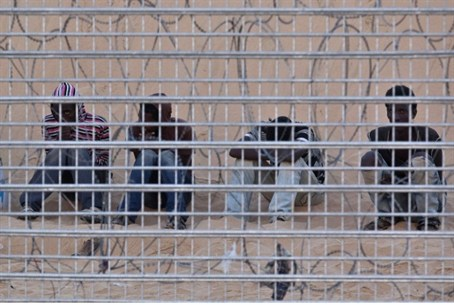 Eritreans behind border fence