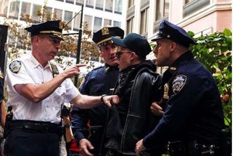 New York police arrest an Occupy Wall Street