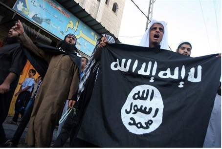 Gaza Salafists wave Al-Qaeda flag during prot