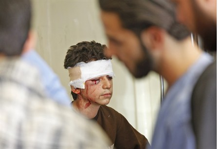 Syrian boy receives treatment after air strik