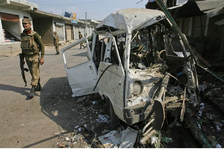 Site of suicide bombing in northwest Pakistan