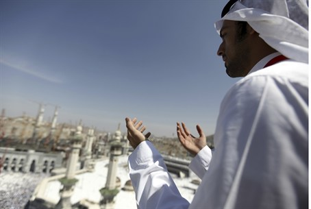 Muslim prays in Saudi Arabia
