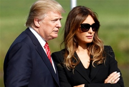 Real estate developer Trump and his wife Mela