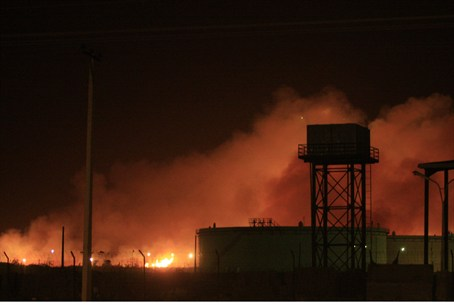 Fire at the Yarmouk ammunition factory in Kha