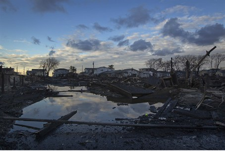 The wreckage of homes devastated by fire and