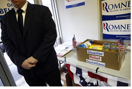 Disaster relief at Romney campaign HQ in Ohio