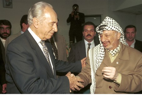 Peres with former PLO Chairman Yasser Arafat
