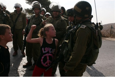 Ahed Tamimi challenging IDF soldiers