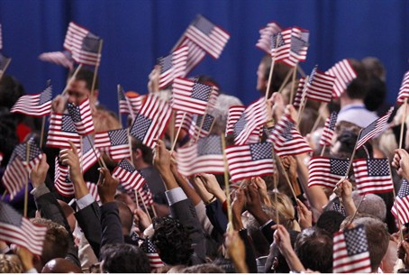 Supporters of U.S. President Barack Obama cel
