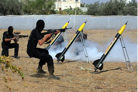 Hamas terrorists fire rockets at Israel(file)