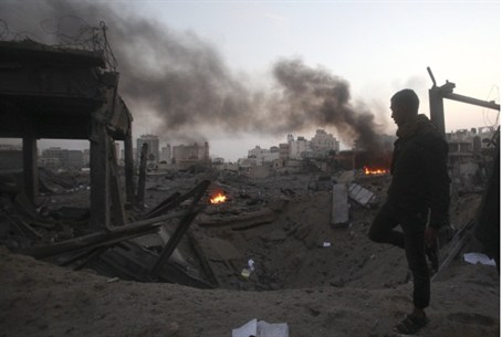 Aftermath of bombing in Gaza