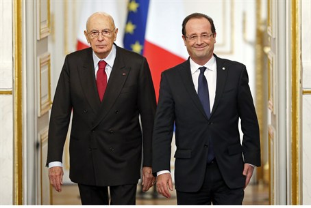 Hollande with Italy's Napolitano